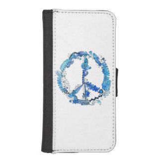 Illustrated Peace Sign Pen Art with Blue Wallet Phone Case For iPhone SE/5/5s
