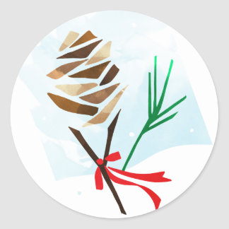 Illustrated Pine Cone Winter Holiday Stickers