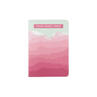 Illustrated Pink Mountain Landscape Personalized Passport Holder