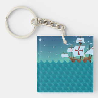 Illustrated Pirate Ship & Wave Pattern Keychain