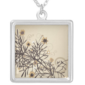 Illustrated Plant 2 Silver Plated Necklace