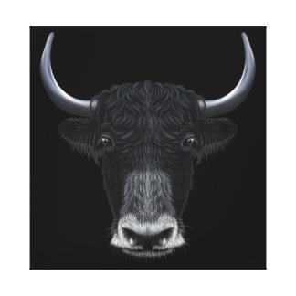Illustrated portrait of Domestic yak. Canvas Print