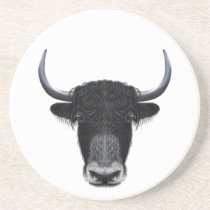 Illustrated portrait of Domestic yak. Drink Coaster