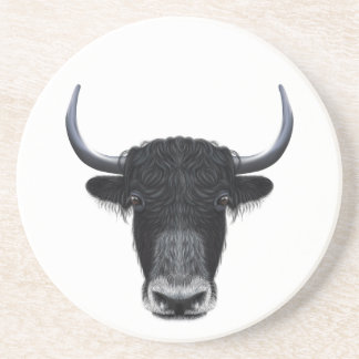 Illustrated portrait of Domestic yak. Drink Coaster