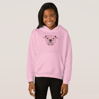 Illustrated portrait of English Bulldog puppy. Hoodie
