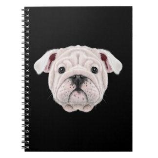 Illustrated portrait of English Bulldog puppy. Notebook