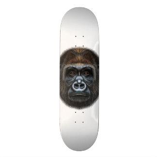 Illustrated portrait of Gorilla male. Skateboard