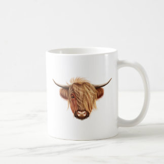 Illustrated portrait of Highland cattle. Coffee Mug