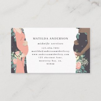 Illustrated prgenant mom colorful + floral midwife business card