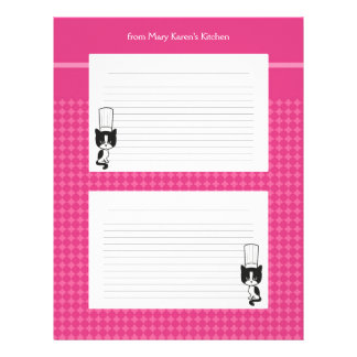 Illustrated recipe pages for binders letterhead