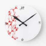 Illustrated Red Molecules Structure Round Clock