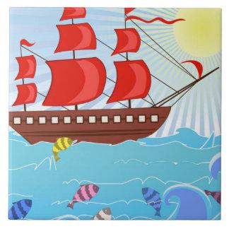 Illustrated Red Pirate Ship Ceramic Tile