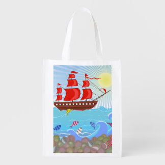 Illustrated Red Pirate Ship Grocery Bag