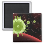 Illustrated rendering of the SARS coronavirus 2 Inch Square Magnet