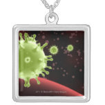 Illustrated rendering of the SARS coronavirus Square Pendant Necklace