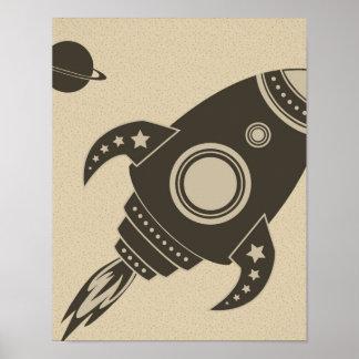 Illustrated Rocket Ship Poster