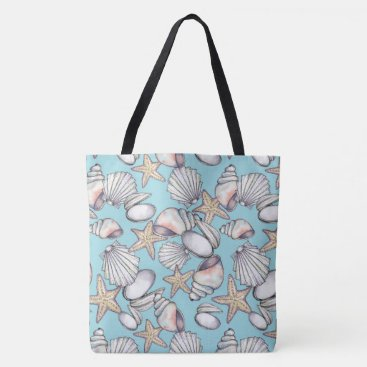 Beach Themed Illustrated Sea Shells Pattern Tote Bag -Aqua BG