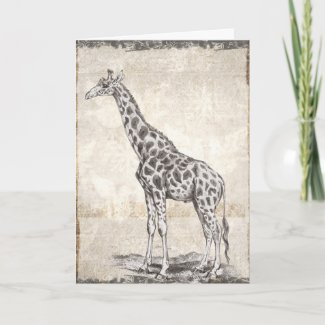 Illustrated Sepia Giraffe Happy Birthday Card