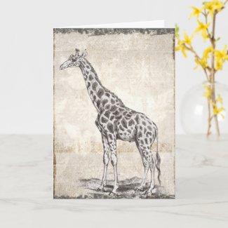 Illustrated Sepia Giraffe Happy Birthday Card