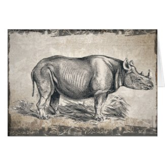 Illustrated Sepia Rhino Happy Birthday Card