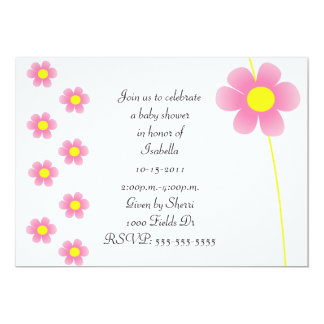 Illustrated Simple Pink Flower Baby Shower Invit Card