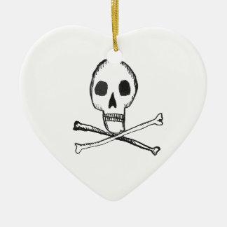 Illustrated Skull Ceramic Ornament