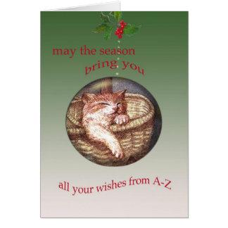 Illustrated SLEEPY KITTEN CHRISTMAS WISHES Card