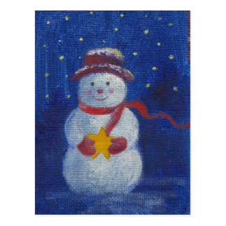 illustrated SNOWMAN WITH STARS Postcard