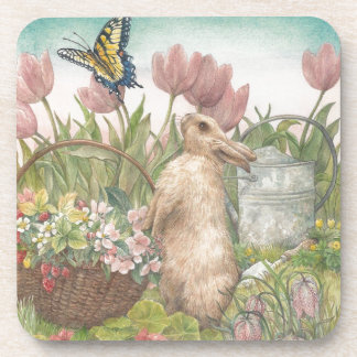 illustrated spring bunny in garden beverage coaster
