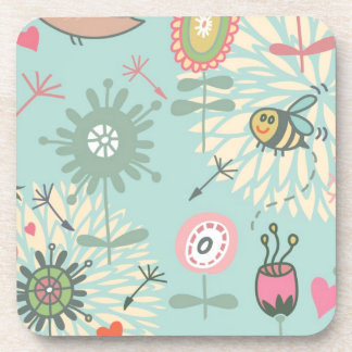 Illustrated Spring Flowers and Bees Coaster