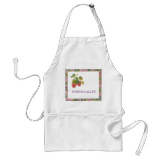 Illustrated strawberry & roses custom name adult apron