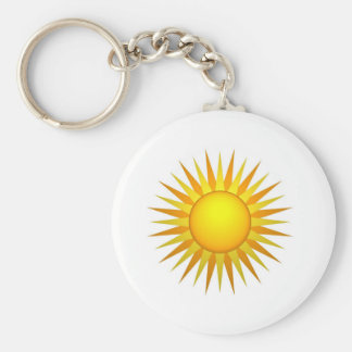 Illustrated sun basic round button keychain