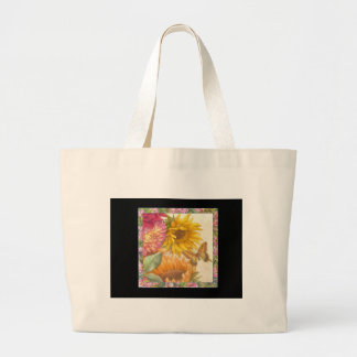 illustrated sunflower & butterfly personalize gift canvas bag