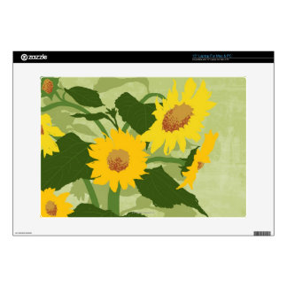 Illustrated Sunflowers Decals For Laptops