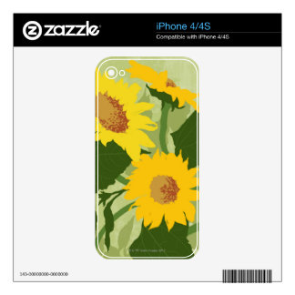 Illustrated Sunflowers Decals For The iPhone 4S