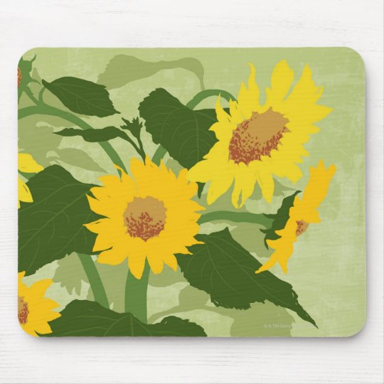 Illustrated Sunflowers Mouse Pad