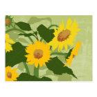 Illustrated Sunflowers Postcard