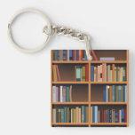 Illustrated Tall Bookshelf Double-Sided Square Acrylic Keychain