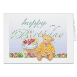 Illustrated teddybear cupcake birthday greeting card