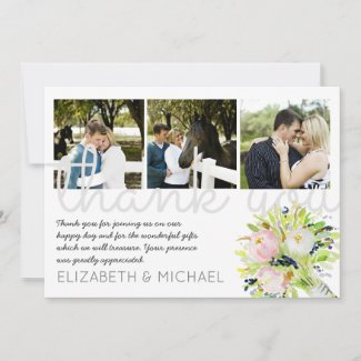 Illustrated Thank You Wedding PHOTO Collage Card