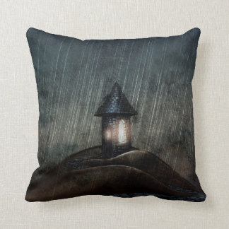 Illustrated Throw Pillow Warm When It Rains