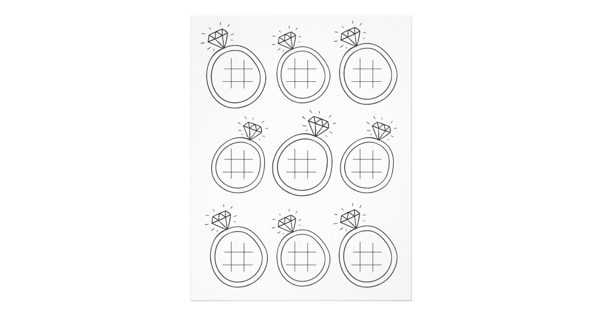 Illustrated Tic Tac Toe Wedding Activity Page  Zazzle