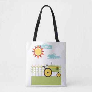 Illustrated tractor farm tote bag
