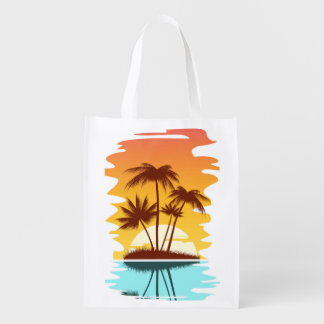 Illustrated Tropical Island Market Totes