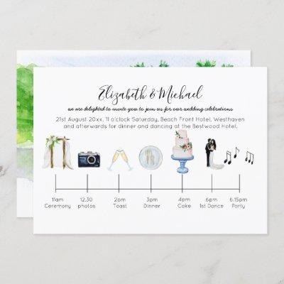 Illustrated Tropical Wedding Timeline Invitation