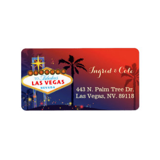 Illustrated Twilight Las Vegas Wedding Label