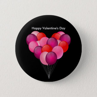 Illustrated Valentine's Day balloons Button