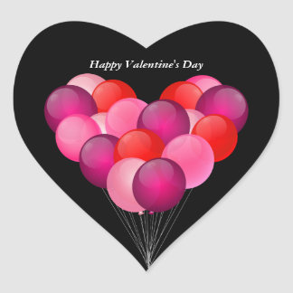 Illustrated Valentine's Day balloons Heart Sticker