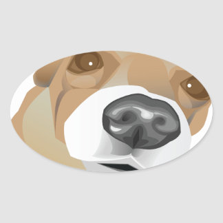 Illustrated vector portrait of a little dog oval sticker
