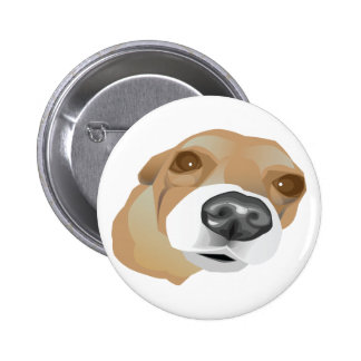 Illustrated vector portrait of a little dog pinback button